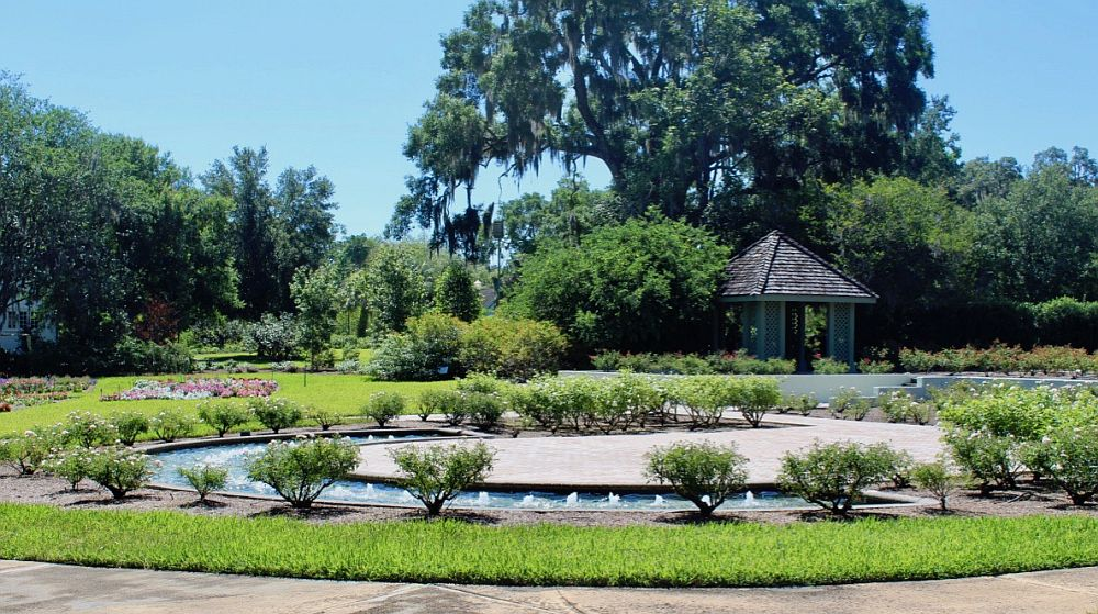 A view across some of the botanical garden. grass and shrubs in the foreground surrounding a low, simple fountain with many low spouts coming out of a semi-circular pond. In the background a large old tree with spanish moss hanging from it, a kiosk of some sort under it.