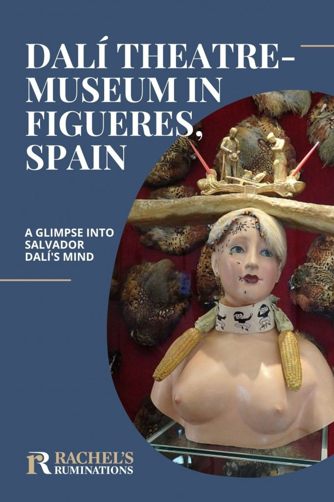 Text: Dali theatre-museum in Figueres, Spain: A glimpse into Salvador Dali's mind Image: a sculpture of a woman with ants on her face and a baguette balanced on her head.