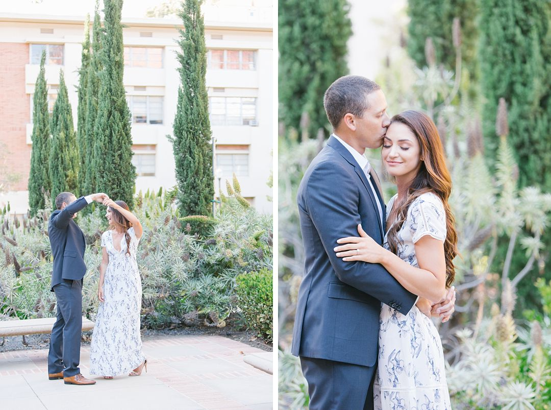 engaged couple dances on UCLA campus