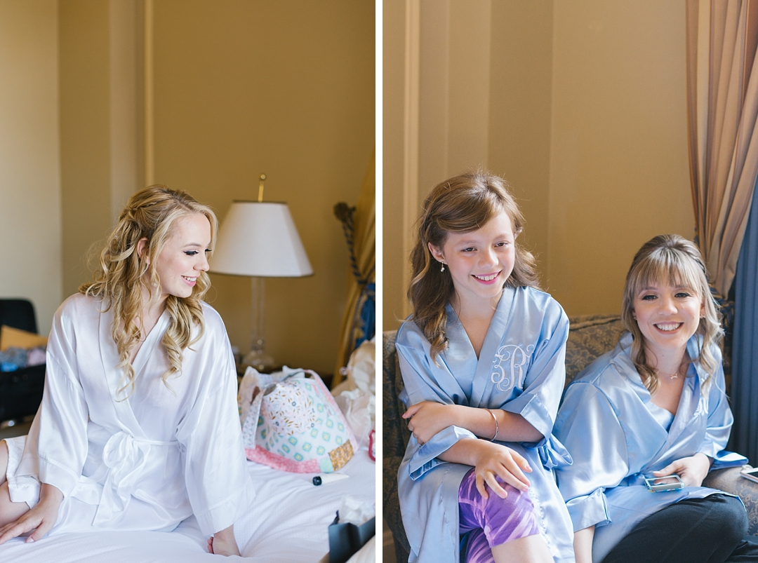 portrait of bride and her sister and niece at the Millennium Biltmore Hotel