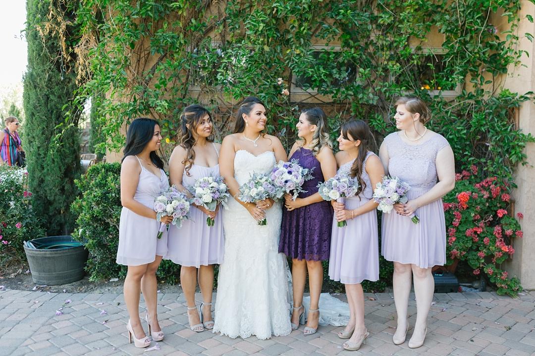 bride and bridesmaids in purple at gershon bachus