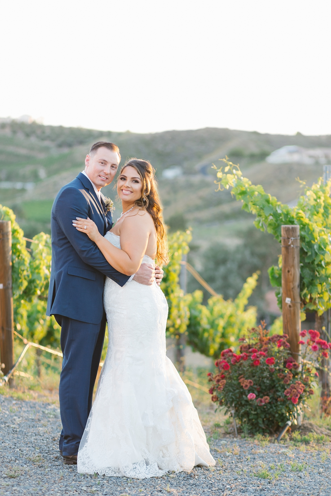 bride and groom at sunset at gershon bachus vintners wedding