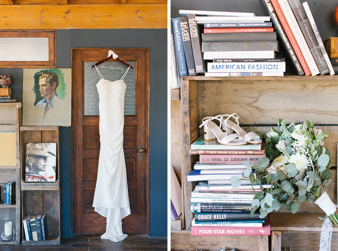 wedding gown hanging in rustic setting