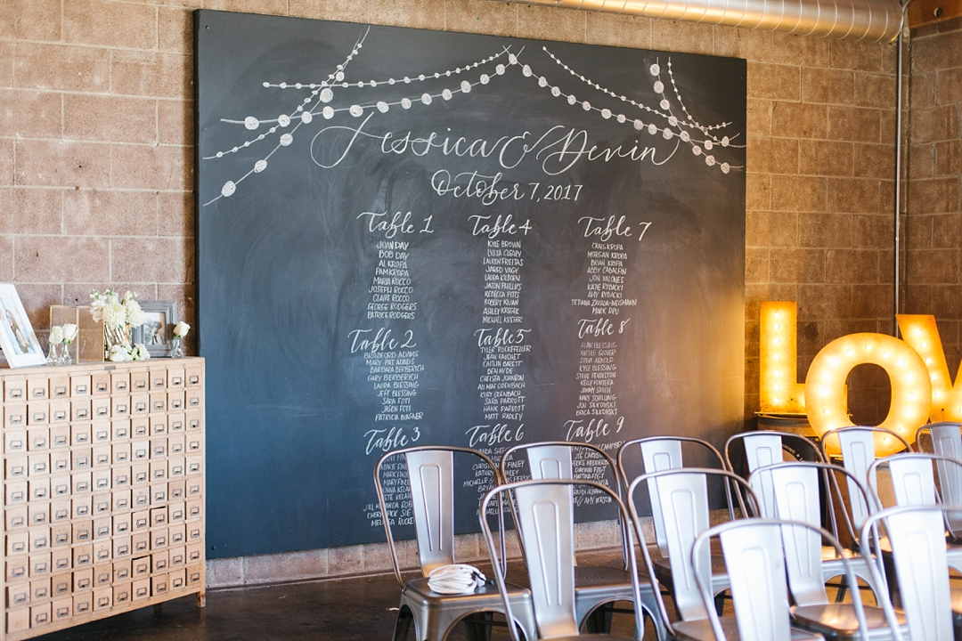 chalk board table seating at smoky hollow studios