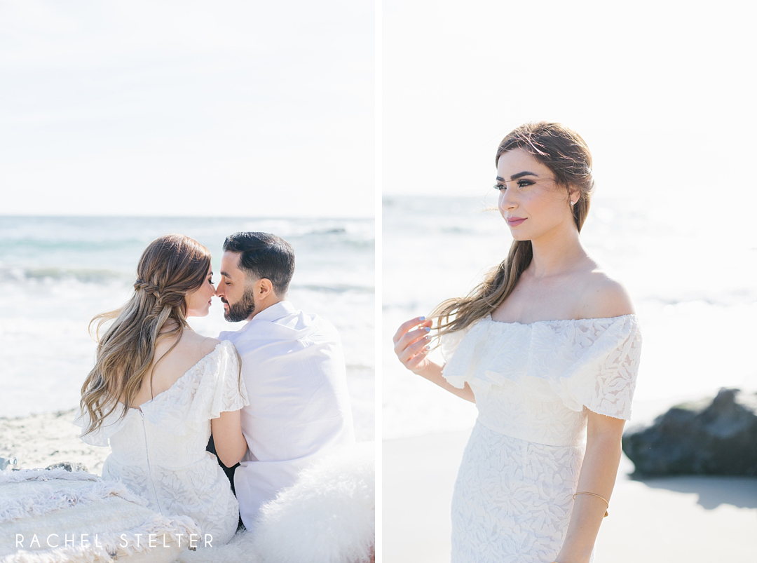 bridal portrait and couple touches noses while sitting on the beach