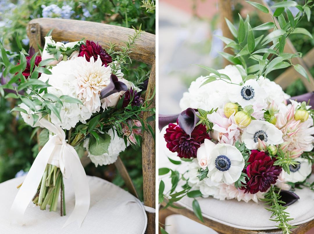anemone bouquet at topanga canyon wedding