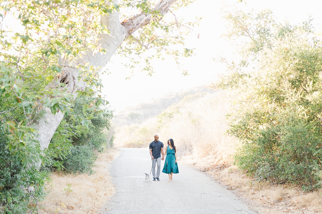 solstice canyon engagement photos with dog