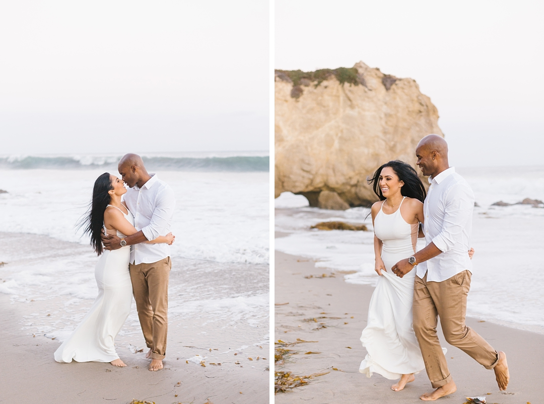 el matador state beach engagement photos couple running through waves