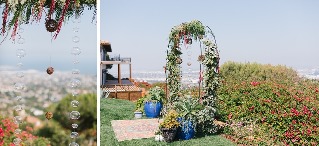 boho backyard wedding ceremony at palos verdes private residence