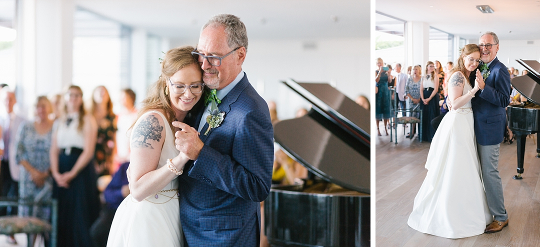 father daughter dance at boho backyard wedding in palos verdes