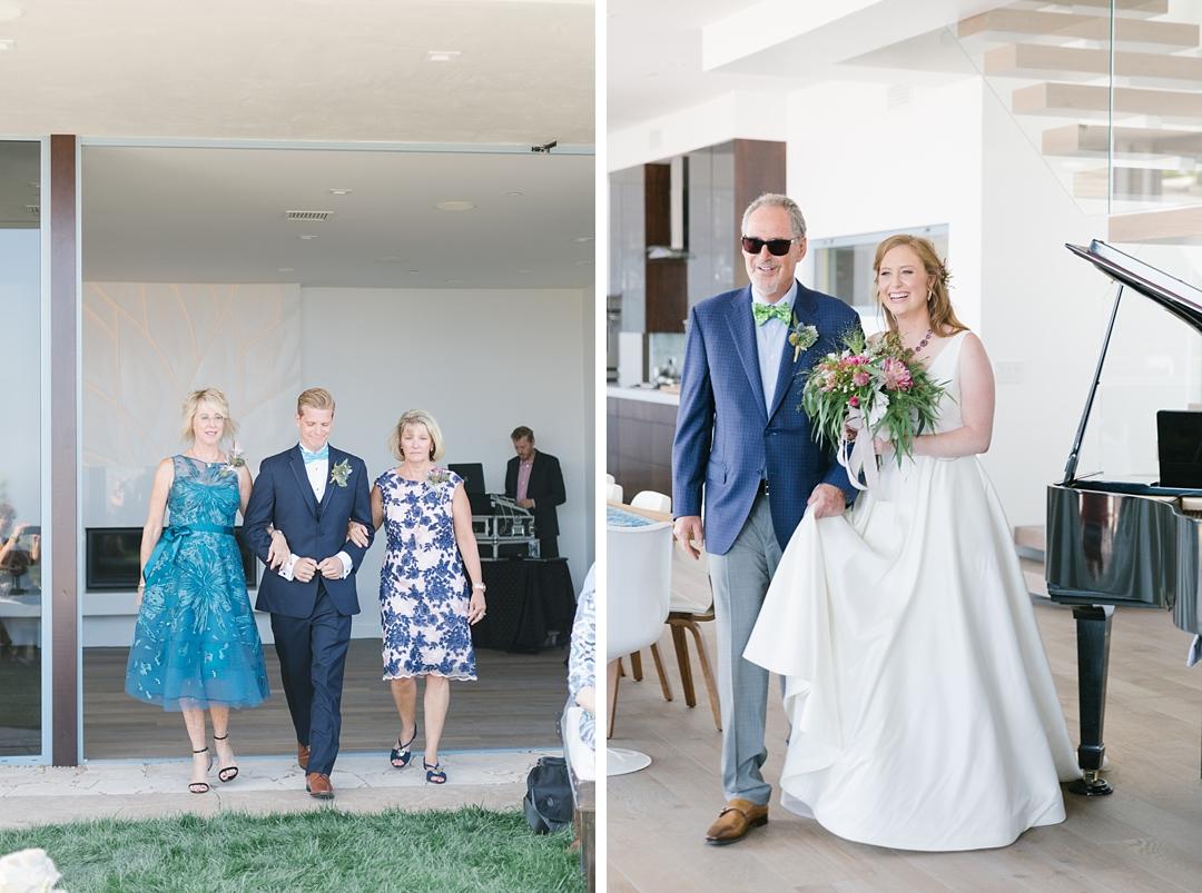 bride and groom walk down aisle at backyard palos verdes wedding
