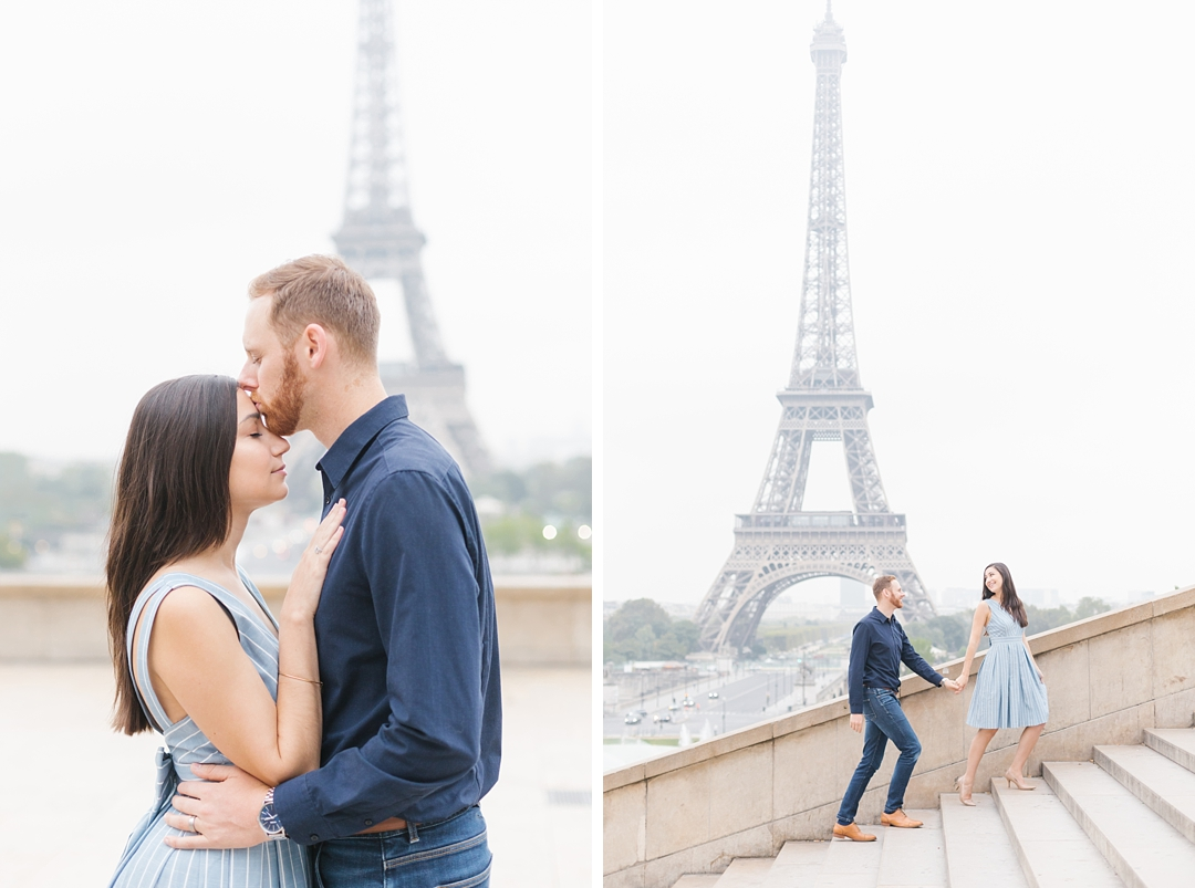 romantic sunrise paris france anniversary photo session at trocadero