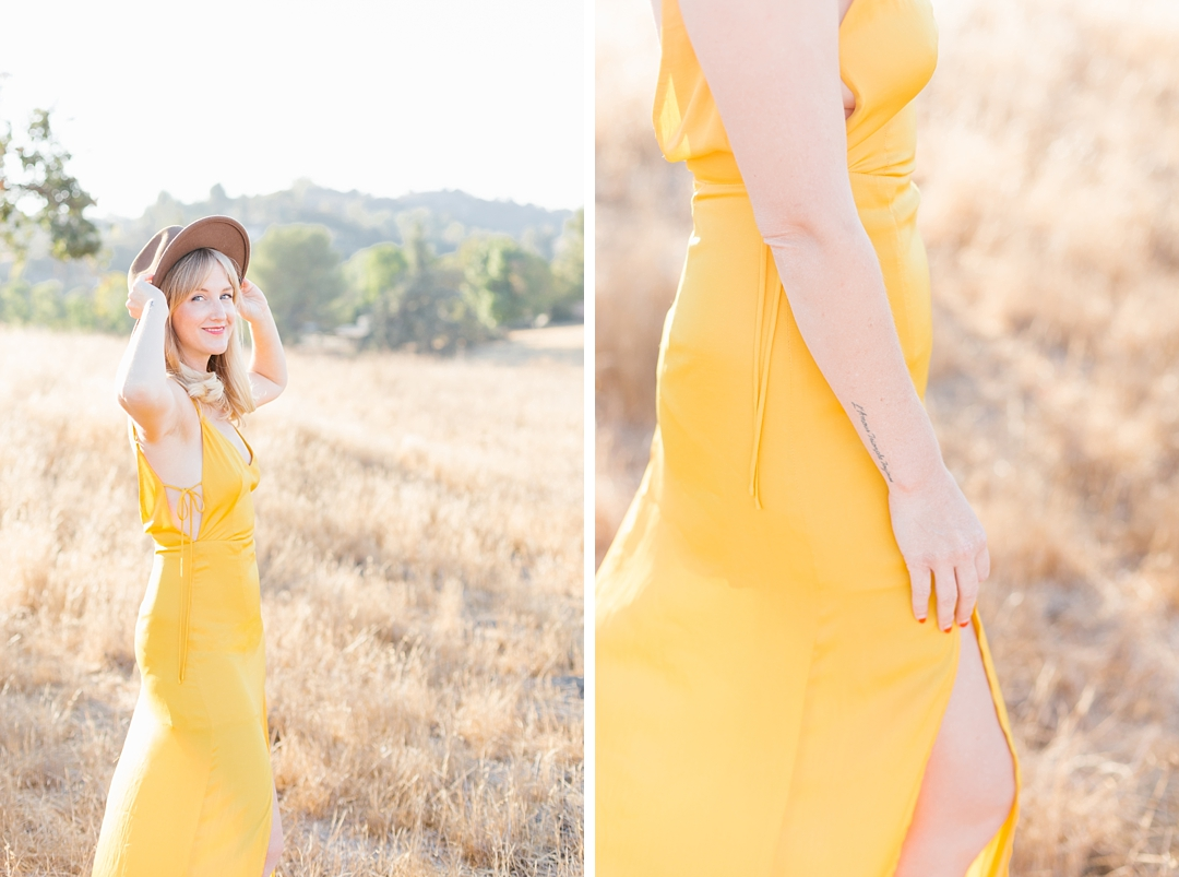 fashion forward Southern California anniversary session with yellow dress