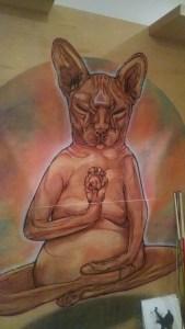 cat cafe mural
