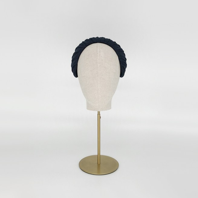 Navy pleated silk straw headpiece