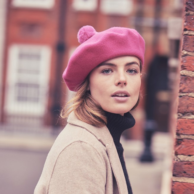 Hot pink beret with pom