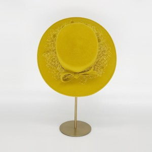 Mustard yellow velour felt boater