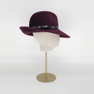 Maroon Felt Fedora with Patent Band