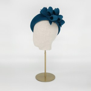 Teal felt beret with bows