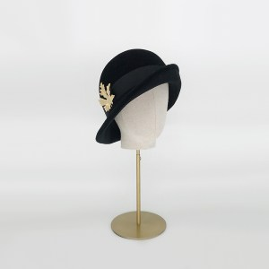 Black velour felt upturned cloche