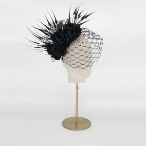Black rose teardrop with feathers and veil