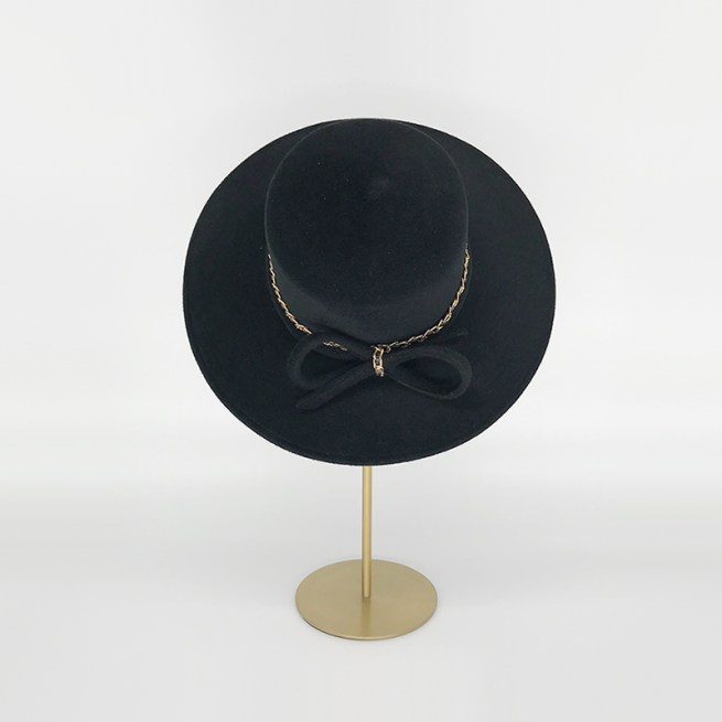 Black velour felt boater with gold chain