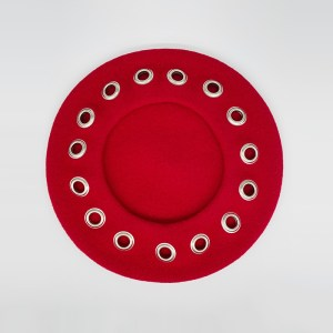Red wool beret with rivets