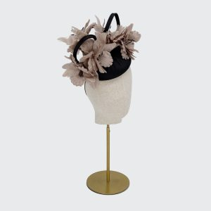 Black pillbox with taupe flowers