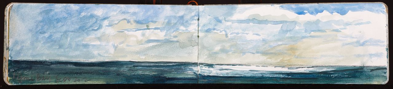 sketchbook page of lyme bay