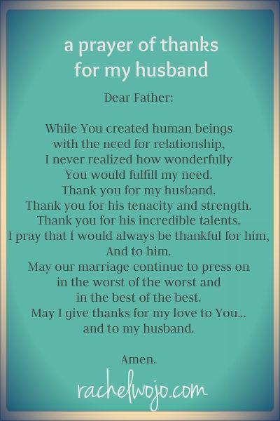 Wedding Anniversary Prayer : wedding, anniversary, prayer, Prayer, Thanks, Husband, RachelWojo.com