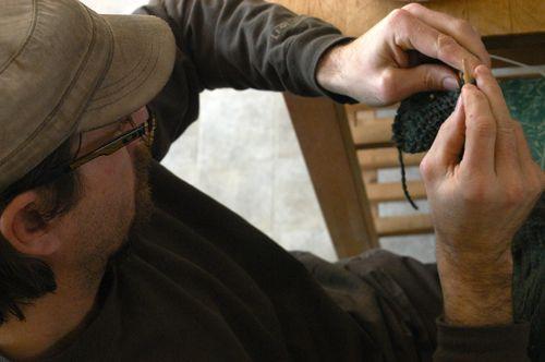 Man knitting. | Clean : : the LuSa Organics Blog