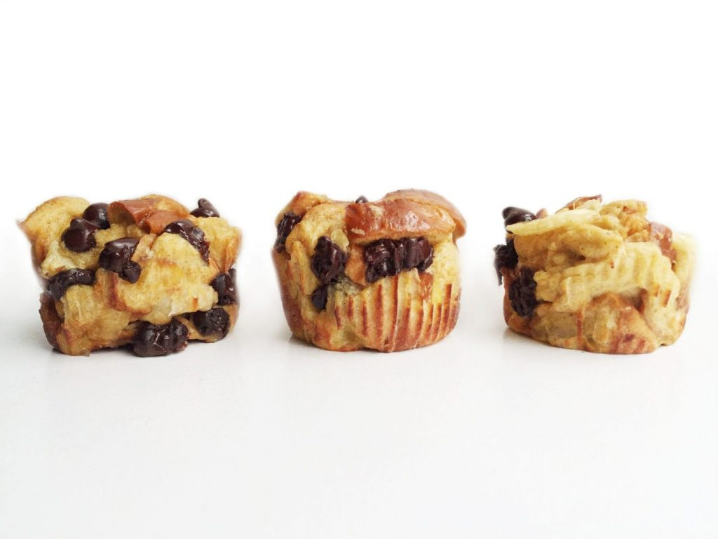 Chocolate Chip Banana Challah French Toast Muffins