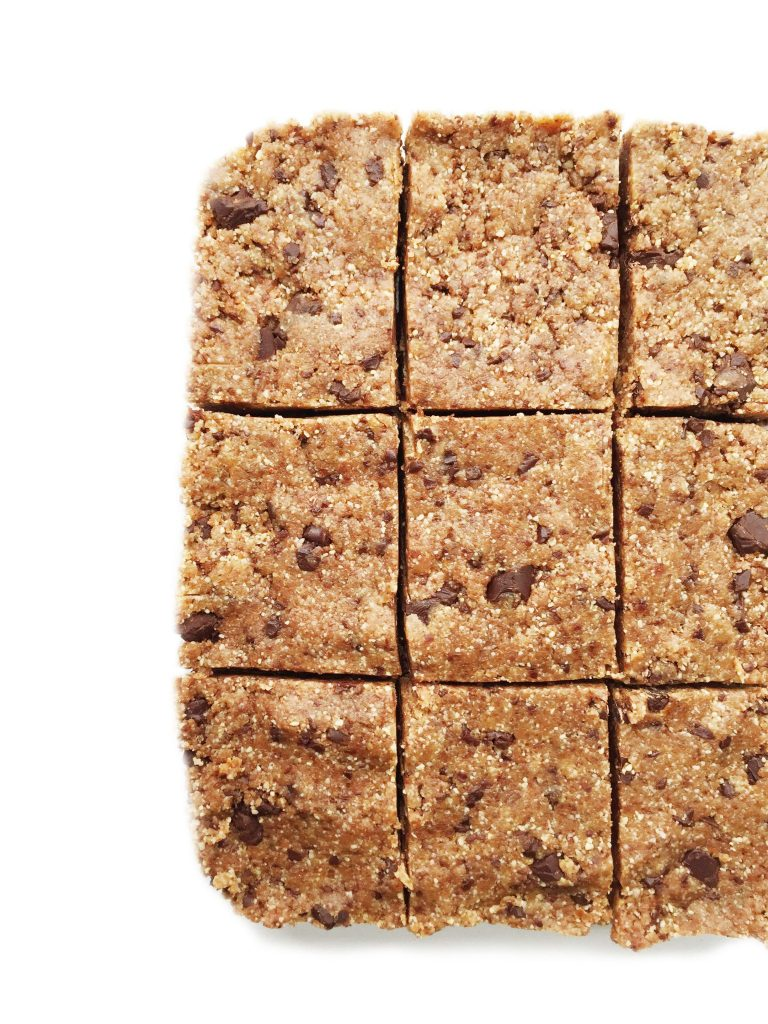 Vegan, Gluten, & Grain Free No-Bake Chocolate Chip Cookie Brownie Bars made with 8 ingredients