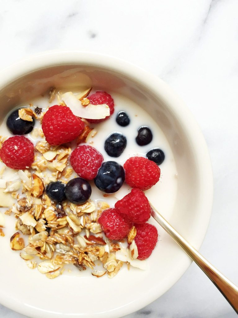 Toasted Muesli Breakfast Bowl made with 7 ingredients & ready in just 15 minutes