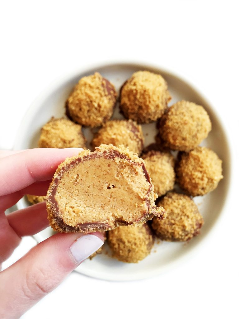 Gluten-free Cookie Dusted Peanut Butter Chocolate Truffles by rachLmansfield