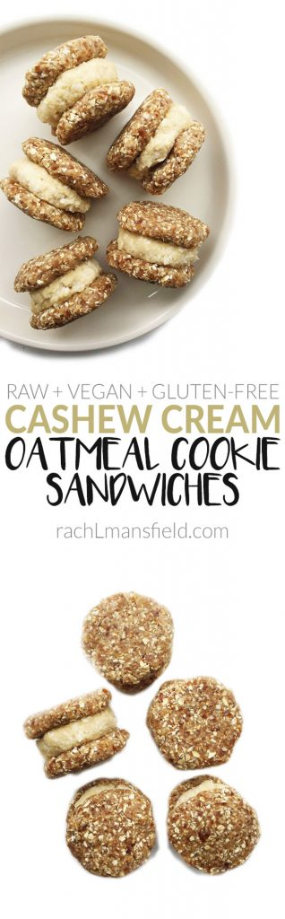 Vegan & Gluten-free Raw Cashew Cream Oatmeal Cookie Sandwiches