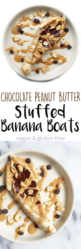 Chocolate Peanut Butter Stuffed Baked Banana Boats by rachLmansfield
