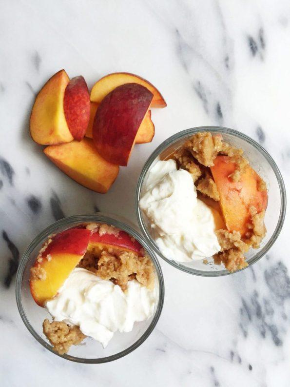 Vegan & Gluten-free Flourless Stovetop Peach Cobbler for Two