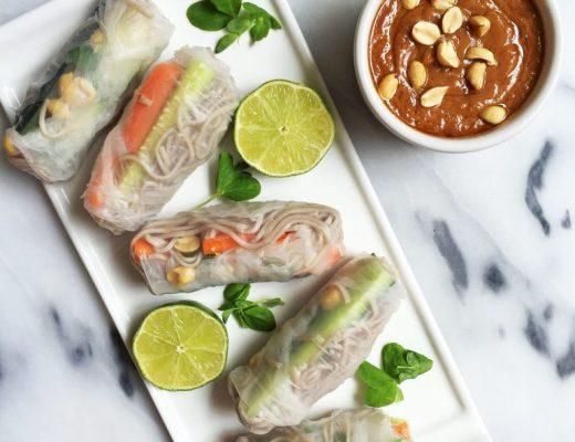 Easy Vegan & Gluten-free Soba Noodle Spring Rolls with Creamy Peanut Sauce