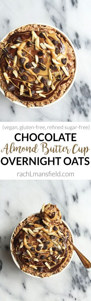 Dark Chocolate Almond Butter Cup Overnight Oats