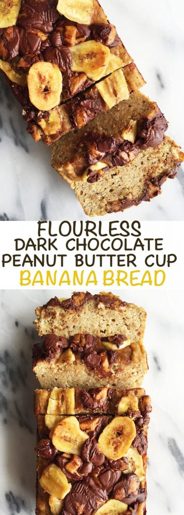 Flourless Dark Chocolate Peanut Butter Banana Bread made dairy-free and gluten-free!