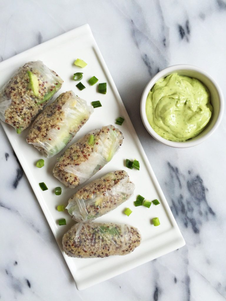 Gluten & dairy-free Green Goddess Spring Rolls with Avocado Dipping Sauce