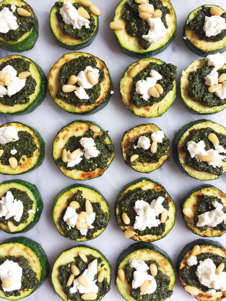 Healthy and Delicious Bite-Size Zucchini Pizzas with Supergreen Pesto