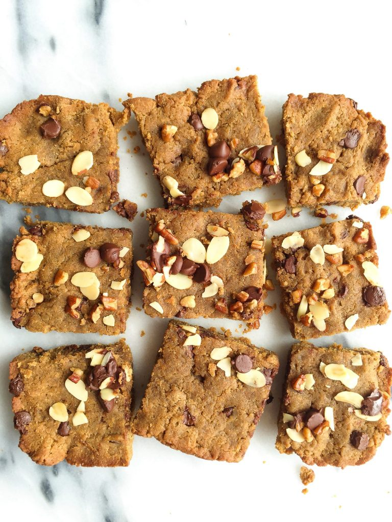 Nutty Chocolate Chip Hummus Blondies that are grain-free and packed with healthy protein!