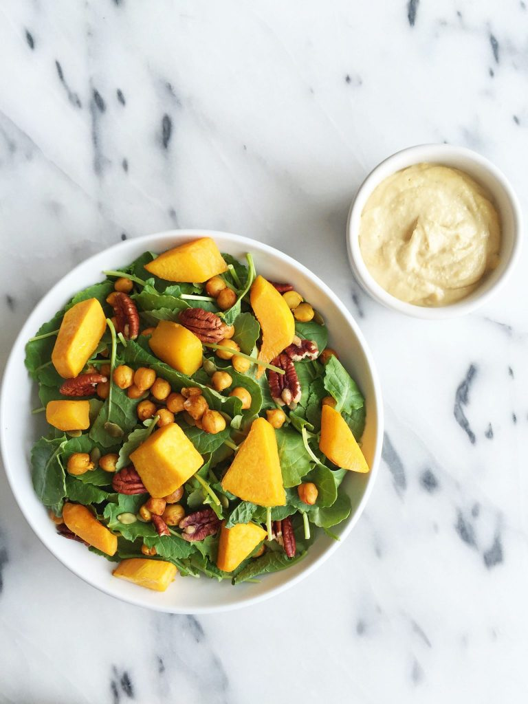 Roasted Chickpea & Butternut Squash Kale Salad with Creamy Garlic Tahini Dressing