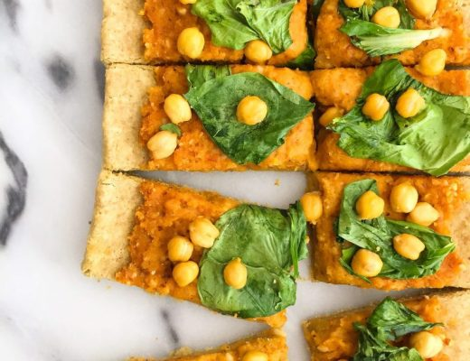 Veggie-Loaded Butternut Squash Pesto Pizza! A vegan and grain free-friendly pizza for a healthy pizza option!