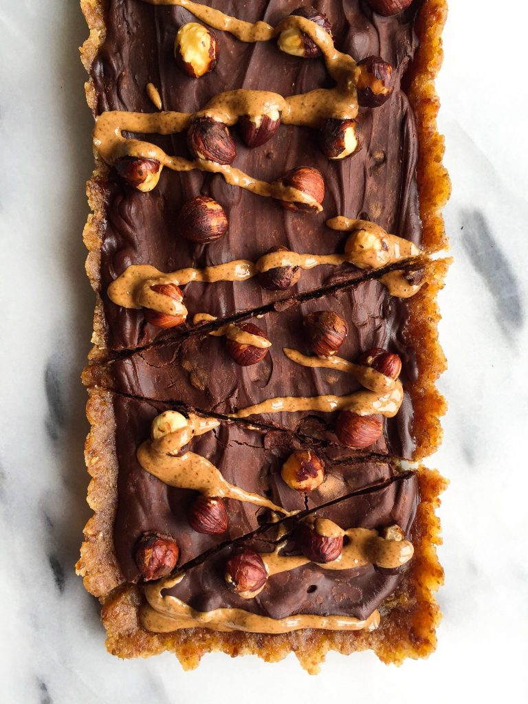 The Easiest Dark Chocolate Hazelnut Tart (grain-free, no-bake)