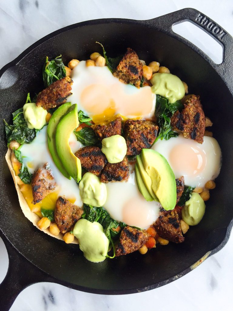 Healthy Veggie Huevos Rancheros Skillet Bake with Avocado Crema
