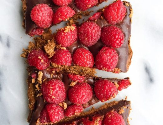 8-ingredient Dark Chocolate Raspberry Tart that is grain & dairy-free