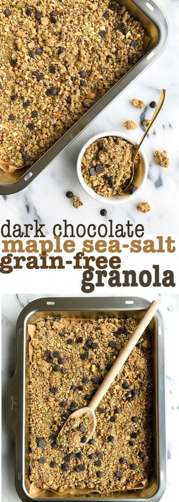 Dark Chocolate Maple Sea Salt Grain-free Granola made with the most delicious and healthy nuts, seeds and spices for an easy vegan, low-sugar granola!